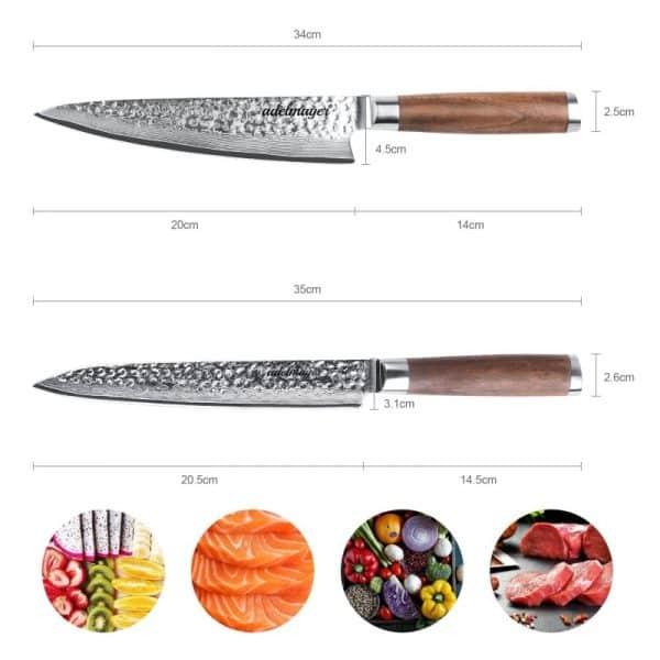 Damast-KücDamast-Küchenmesser-und-Filetiermesser-Maße2henmesser-und-Filetiermesser-Maße2