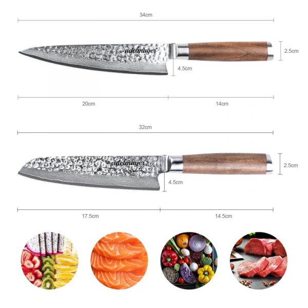 Damast-Küchenmesser-und-Santokumesser-Maße