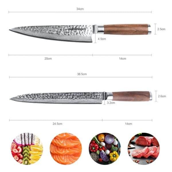 Damastmesser-Küchenmesser-und-Filetiermesser-245-cm-Maße2