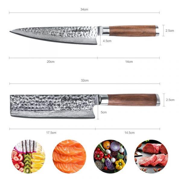 Damastmesser-Küchenmesser-und-Nakirimesser-Maße