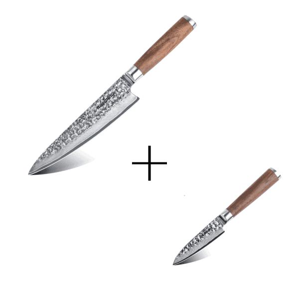 Damastmesser-Küchenmesser-und-Schälmesser