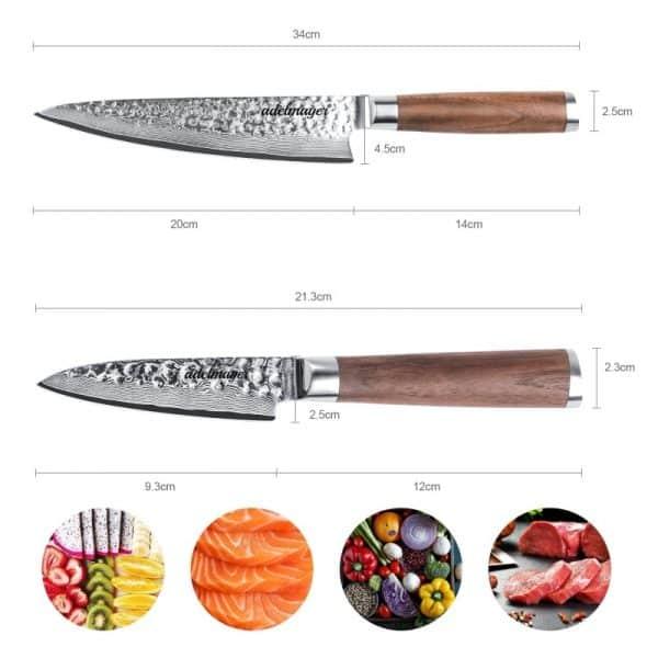 Damastmesser-Küchenmesser-und-Schälmesser-Maße