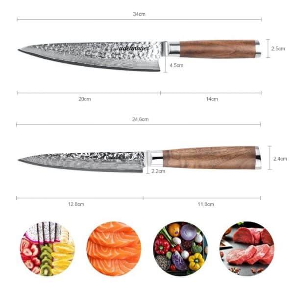 Damast-Kuechenmesser-und-Allzweckmesser-Maße