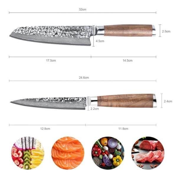 Damastmesser-Santokumesser-und-Allzweckmesser-Maße-1